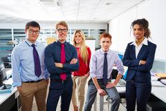 Business team young people standing multi ethnic - stock photo