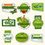 Bio Organic Life Badges - stock illustration