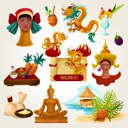 Thailand Touristic Set Stock Illustration