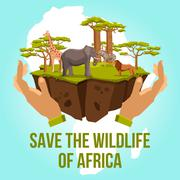 Save the wildlife of Africa concept - stock illustration