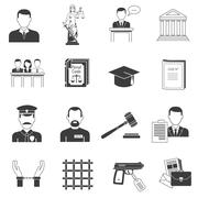 Justice black icons set - stock illustration