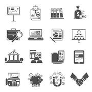 Finance Icon Black Set Stock Illustration