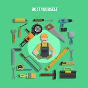 Tools Concept Flat Illustration - stock illustration