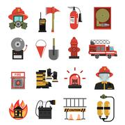 Fire Icon Flat - stock illustration