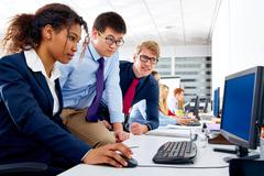 Business team young people multi ethnic teamwork - stock photo