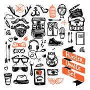 Sketch Hipster Set - stock illustration
