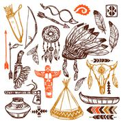 Stock Illustration of Native Americans Set
