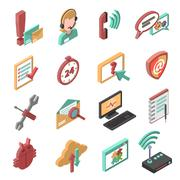 Support Isometric Icons Set Stock Illustration