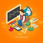 School isometric concept poster Stock Illustration