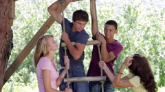 Group Of Teenagers Playing On Rope Ladder Stock Footage