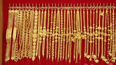 Gold necklaces in store Stock Footage
