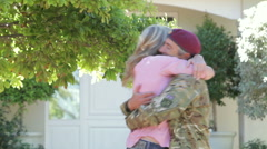 Portrait Of Soldier Returning Home With Teenage Family Stock Footage