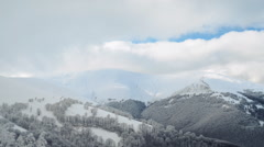 Winter landscape in the mountains, the trees in hoarfrost Stock Footage