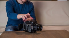 Looking through retro camera eyecup on top 4K Stock Footage