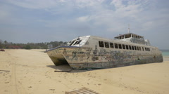 Old boat abandoned on a beach in Panama Stock Footage