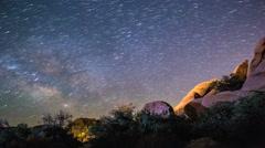 Milky Way Meteor Shower Comets Over Joshua Tree National Park Stock Footage