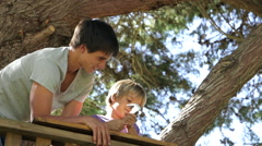 Stock Video Footage of Teenage Boy Helps Younger Brother To Build A Tree House