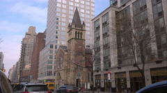 Saint John Nepomucene Roman Catholic Church on 1st Avenue in Manhattan Stock Footage