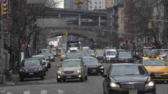 Traffic moving up 1st Avenue in Manhattan Stock Footage