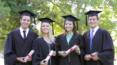 Group Of Students Attending Graduation Ceremony Stock Footage