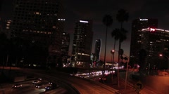 Downtown Los Angeles Freeway Nightlife Stock Footage