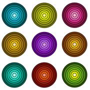 Concentric pipe shape in multiple colors over wite Stock Illustration