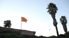 CATALONIA FLAG in Castle - stock footage