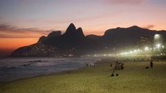 Timelapse View of Ipanema Beach at Sunset, Rio de Janeiro, Brazil Stock Footage