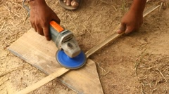 Carpenter at work rural house Stock Footage