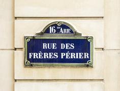 Paris, rue des freres perier old street sign - stock photo