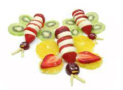 Creative fruit child dessert butterfly form Stock Photos