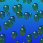 Green translucent party air balloons on blue gradient background - stock illustration