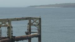 Abandoned deck on Playa Cacique, Contadora Island, Panama Stock Footage