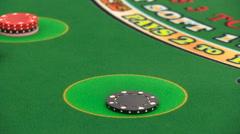 Casino: Dealer Lays Out Twenty One In Blackjack Stock Footage