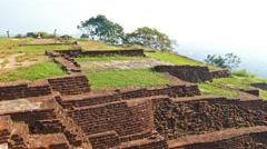Ruins of fortress on top of Sigiriya Rock 4k Stock Footage
