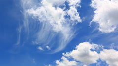 Beautiful Clouds Floating On Blue Sky - stock footage