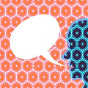 Face profile on a colored background superimposed with a honeycomb pattern. - stock illustration