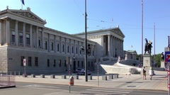 4K footage of the Austrian Parliament Building in Vienna, Austria Stock Footage