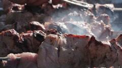 Cooking kebabs Stock Footage