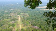 Sigiriya garden in Sri Lanka - view from top 4k Stock Footage