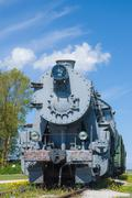 Old steam locomotive train under blue sky Kuvituskuvat