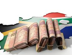South African Map And Folded Notes Stock Illustration