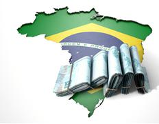 Brazilian Map And Folded Notes - stock illustration