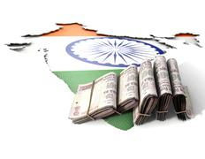 Indian Map And Folded Notes Stock Illustration