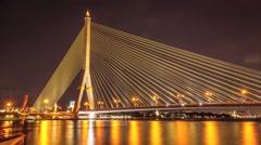 Time Lapse Day to Night of Rama  Bridge Stock Footage
