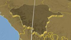 Durango - Mexico region extruded. Bumps - stock footage