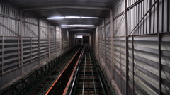 Movement in the single track underground tunnel , Point of view shot. Stock Footage