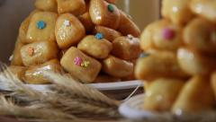 Bakery - traditional dish chak-chak Stock Footage