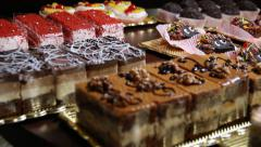 Beautiful cakes and brownies Stock Footage