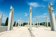 Reinforced concrete piles of the new building Stock Photos